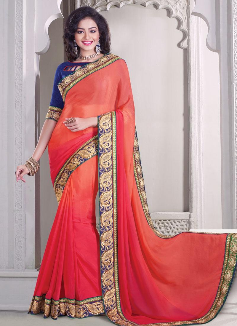 Exciting Sequins Work Satin Designer Saree