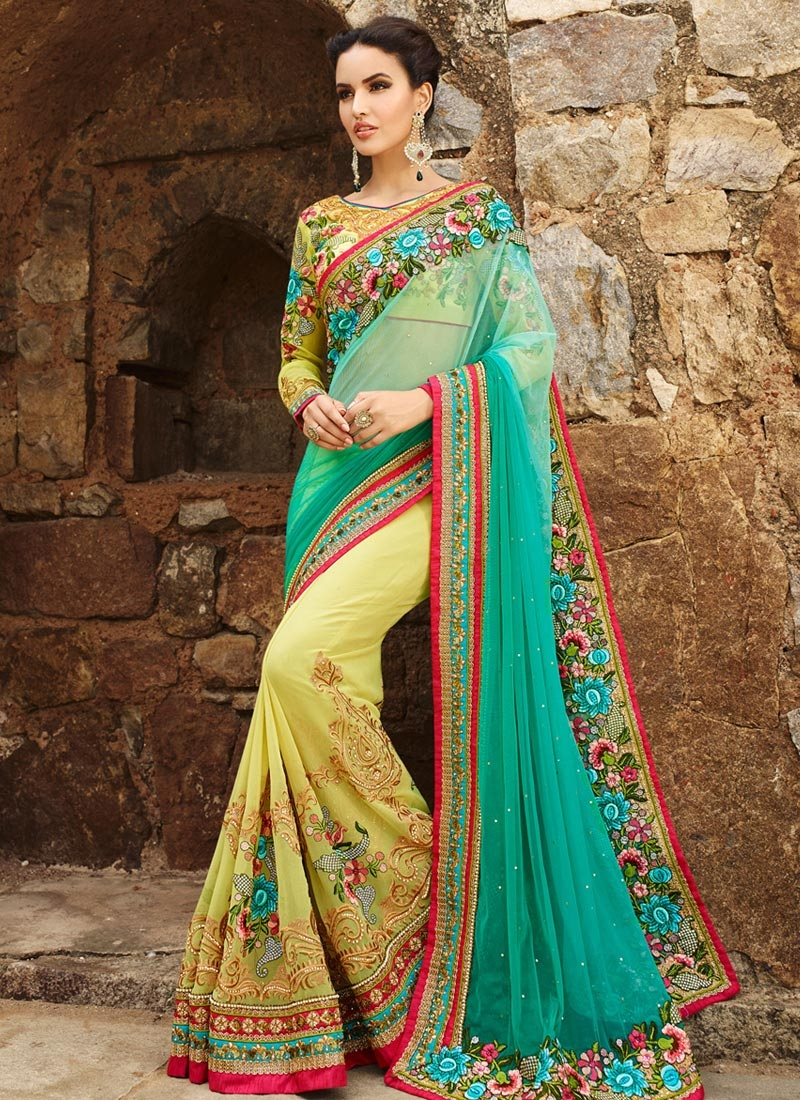 Exciting Stone And Floral Work Half N Half Bridal Saree