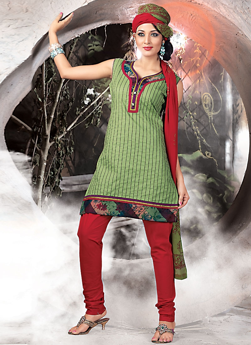 Exotic Aloe Vera Green And Red Churidar Salwar Suit