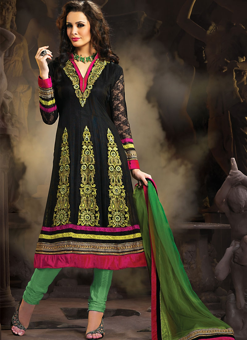 Exotic Black And Green Color Salwar Suit