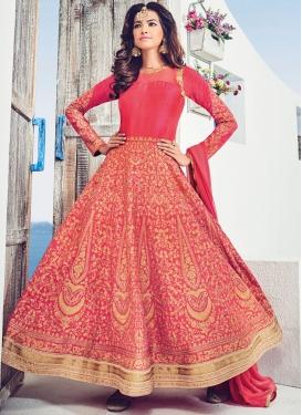 Exotic  Booti Work Silk Floor Length Anarkali Salwar Suit