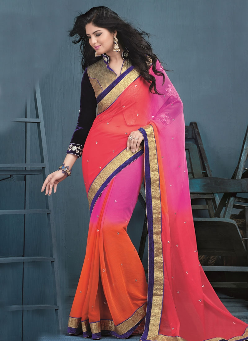 Exotic Faux Chiffon Stone Work Party Wear Saree