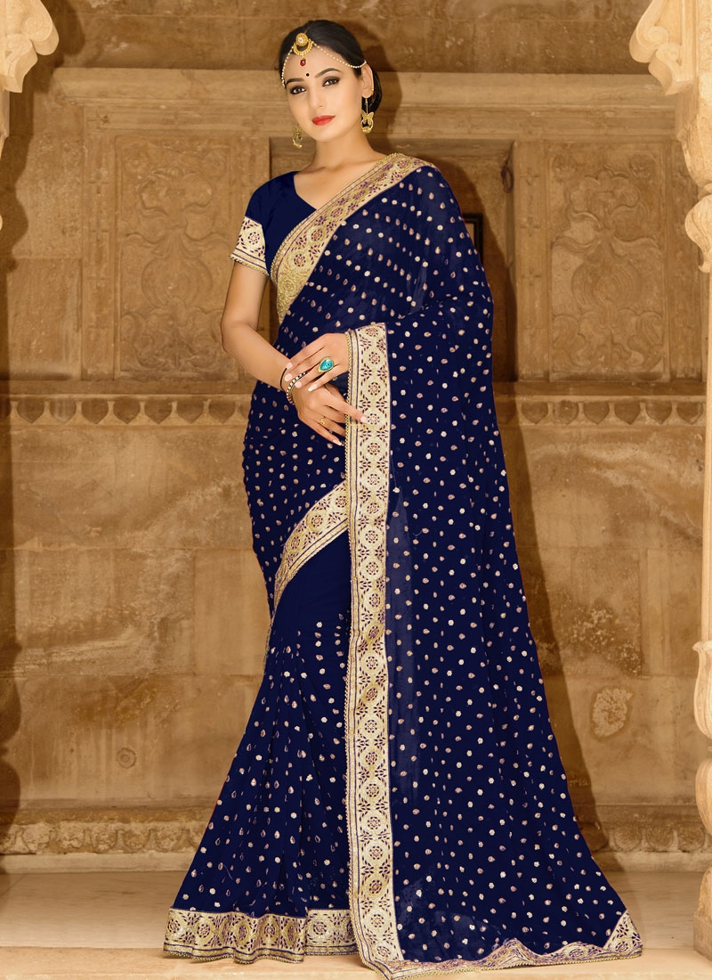 Buy Exotic Faux Georgette Beads Work Designer Traditional Saree Online