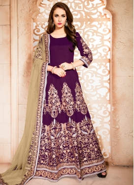 Exotic Purple Ankle Length Anarkali Salwar Suit For Ceremonial