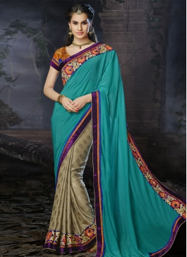 Exotic Resham And Lace Work Half N Half Designer Saree