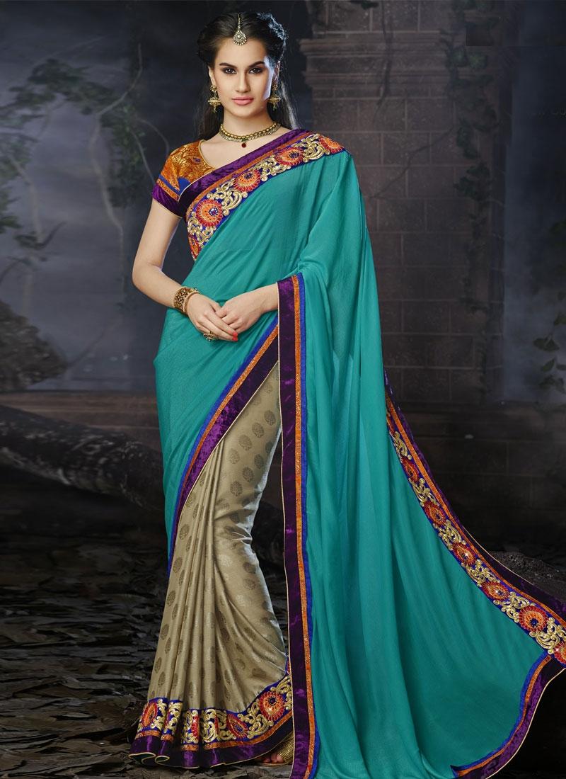 Exotic Resham And Lace Work Half N Half Designer Saree