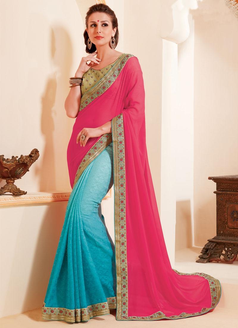 Exquisite Aqua Blue And Rose Pink Color Half N Half Party Wear Saree