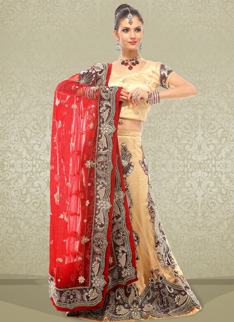 Exquisite Beige Net Bridal Lehenga Choli
