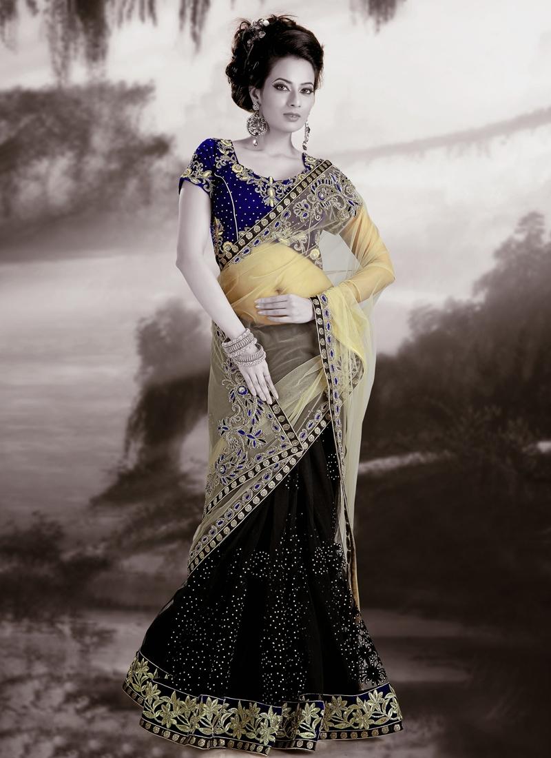 Exquisite Black And Cream Beads Work Lehenga Saree