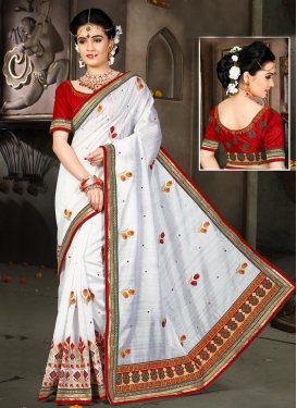 Exquisite Embroidered Work Bhagalpuri Silk Designer Contemporary Style Saree For Ceremonial