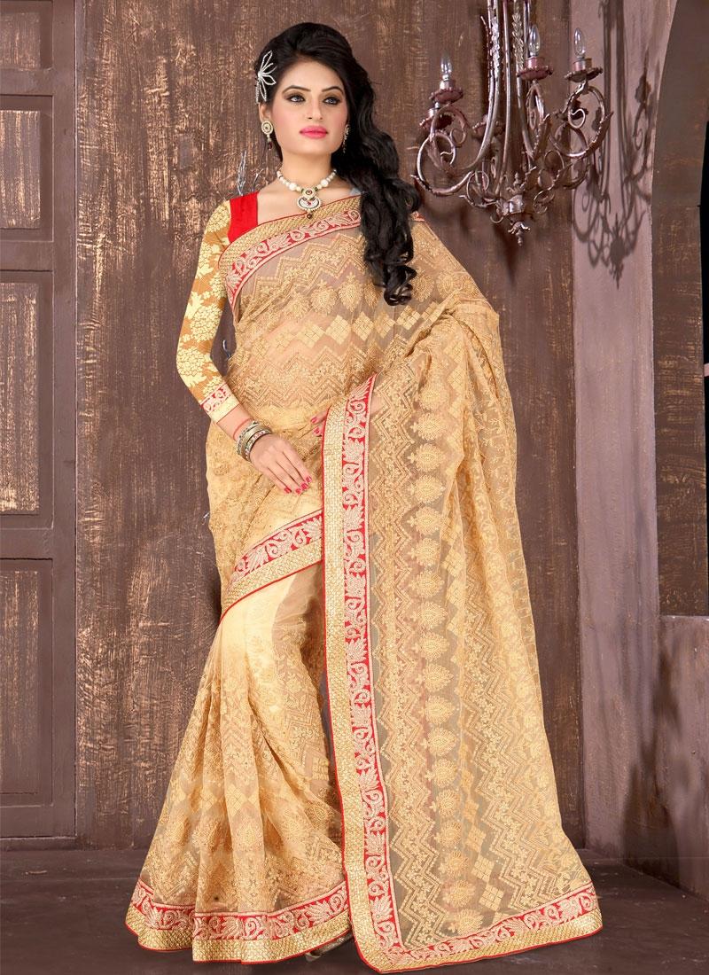 Exquisite Embroidery Work Net Wedding Saree