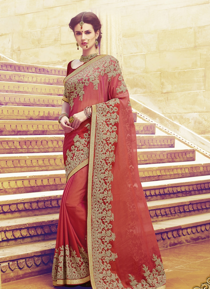 Exquisite Faux Chiffon Sequins Work Wedding Saree