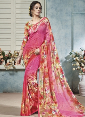 Exquisite Faux Georgette Red and Rose Pink Designer Traditional Saree