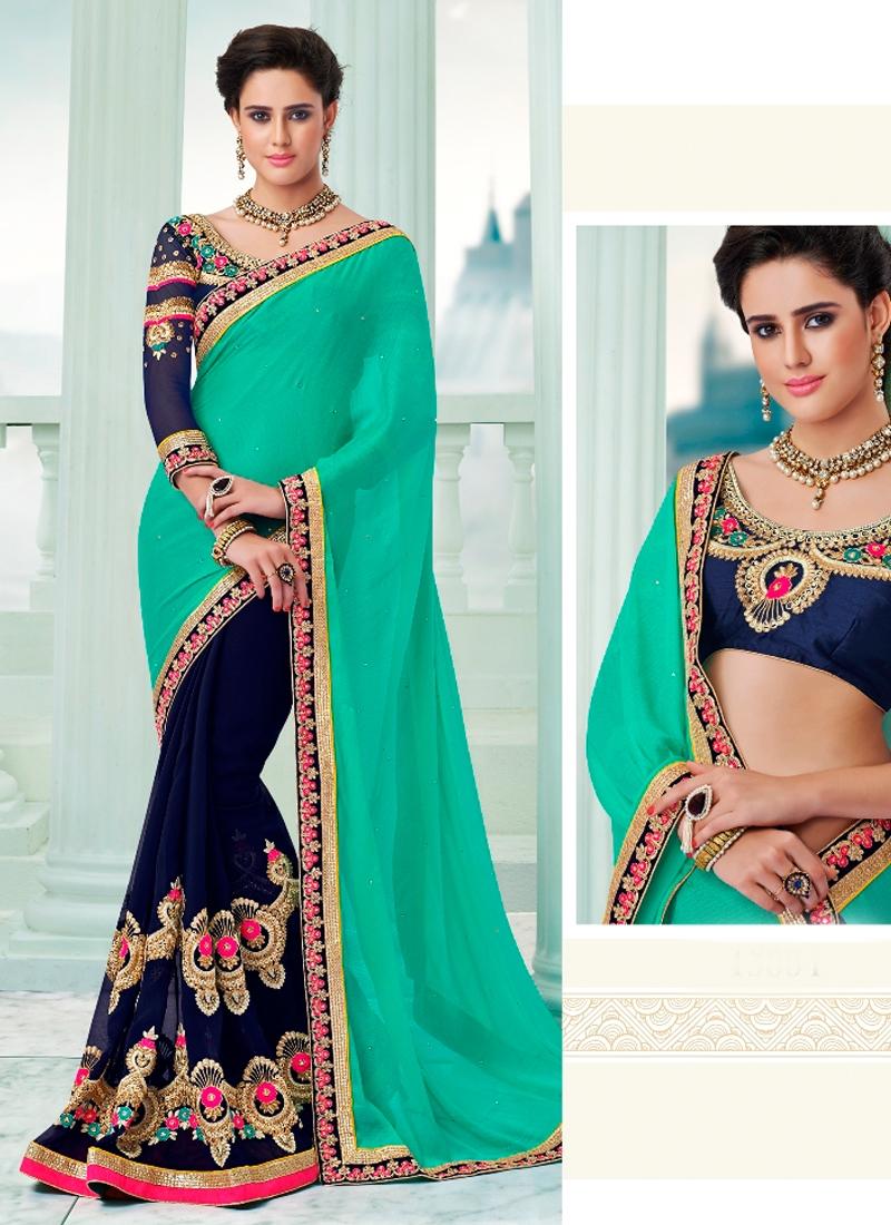 Exquisite Floral Work Half N Half Designer Saree