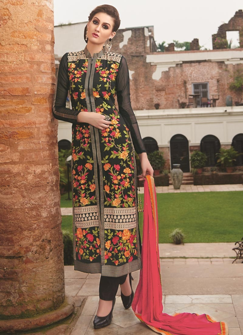 Exquisite Floral Work Pant Style Designer Suit