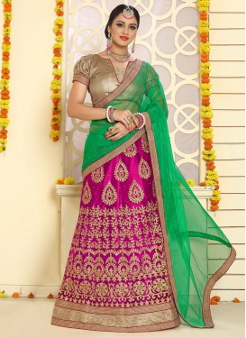 Exquisite Green and Rose Pink Booti Work Trendy A Line Lehenga Choli