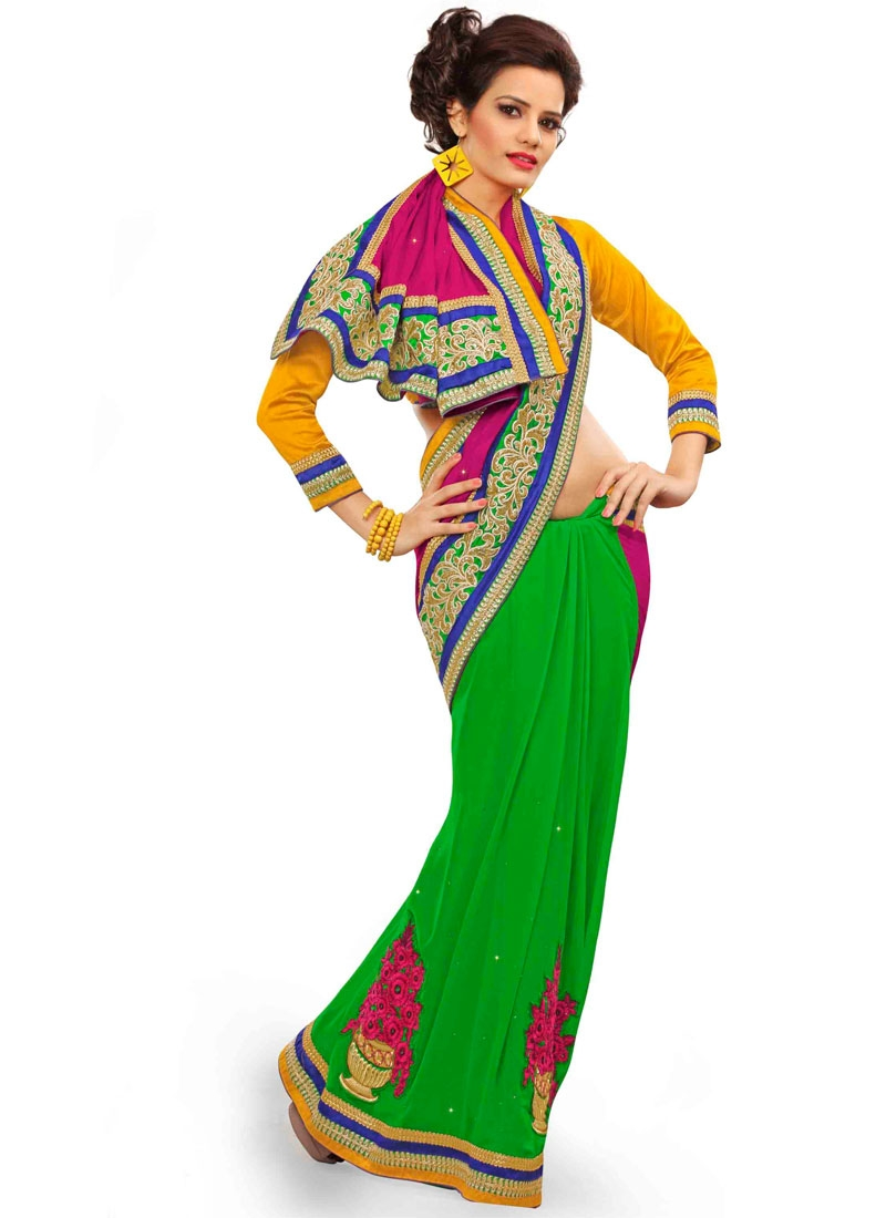 Exquisite Green Color Half N Half Designer Saree