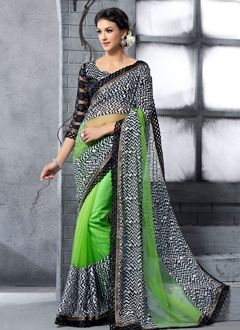 Exquisite Mint Green Color Net Party Wear Saree