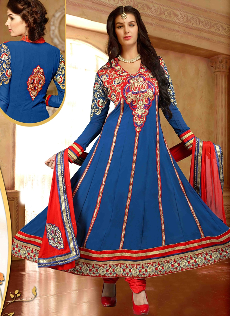 Exquisite Navy Blue Color Anarkali Suit