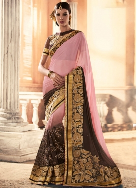 Exquisite Net Embroidered Work Designer Contemporary Style Saree