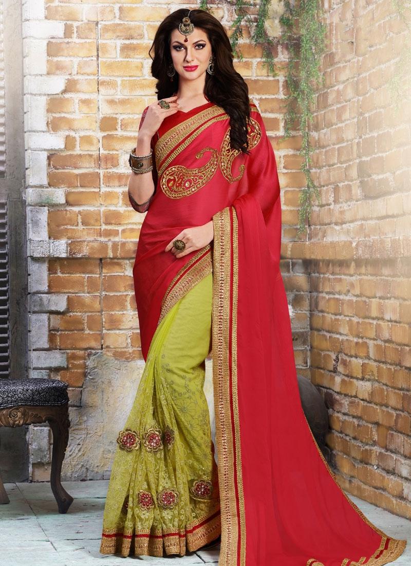 Exquisite stone work red color half n half designer saree for Exquisite stone