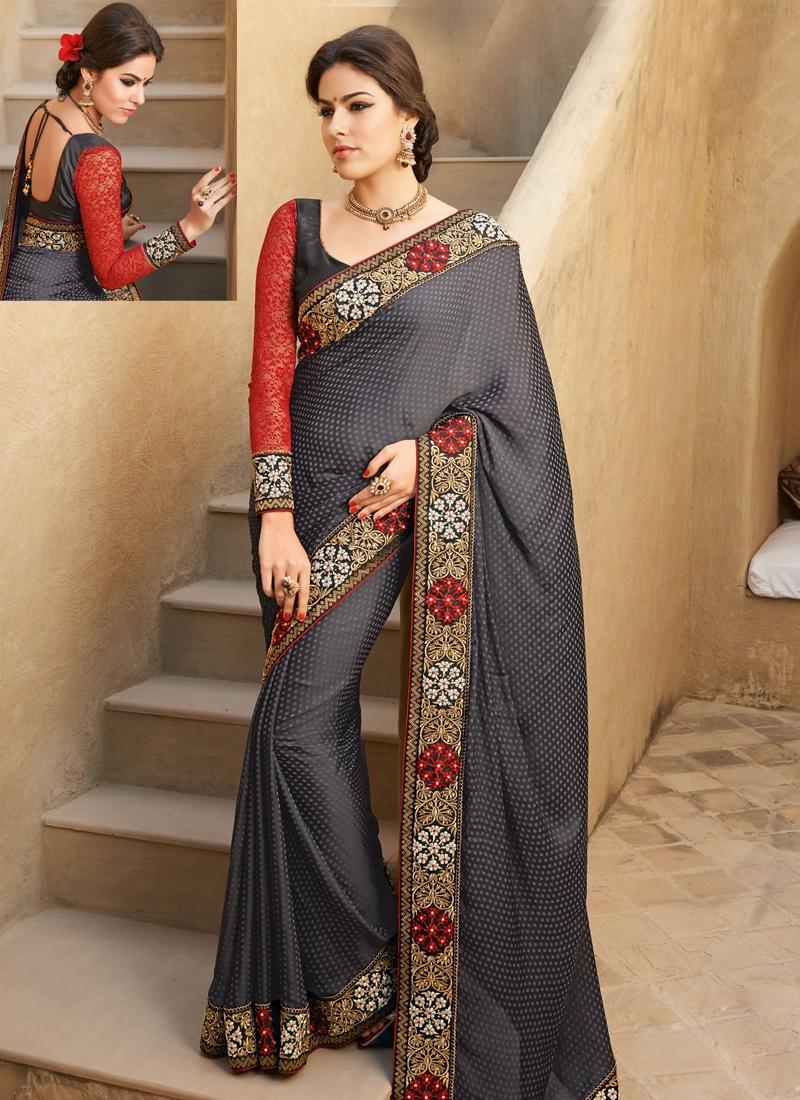 Exquisite Stone Work Satin Party Wear Saree