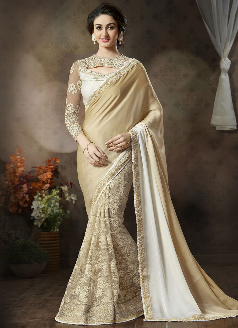 Extraordinary Beads Work Net Half N Half Designer Saree