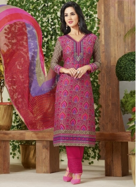 Extraordinary Beige and Rose Pink Pant Style Pakistani Salwar Kameez