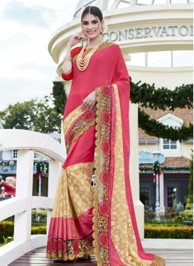 Extraordinary Beige and Rose Pink Trendy Designer Saree For Festival