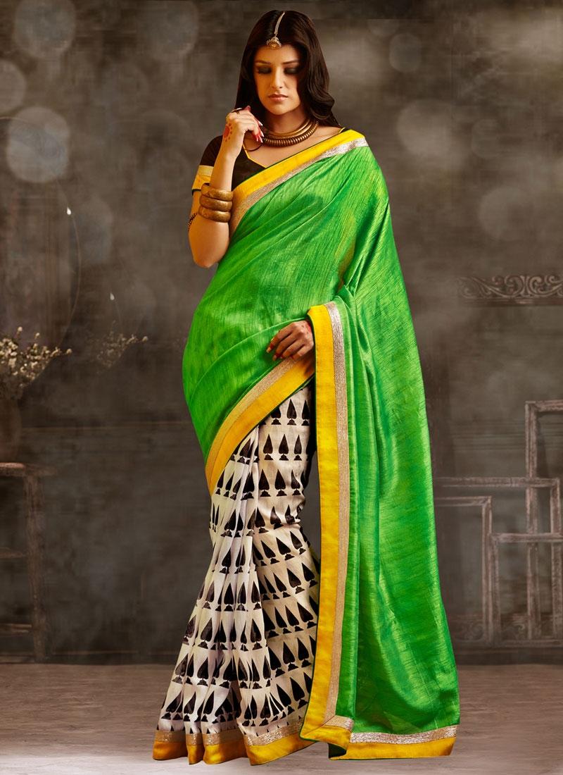 Extraordinary Bhagalpuri Silk Half N Half Casual Saree