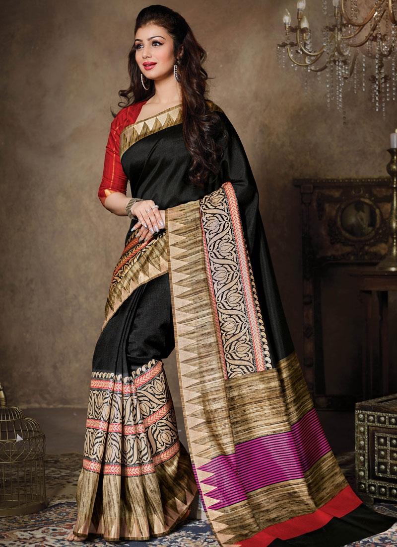 Extraordinary Black Color Ayesha Takia Casual Saree
