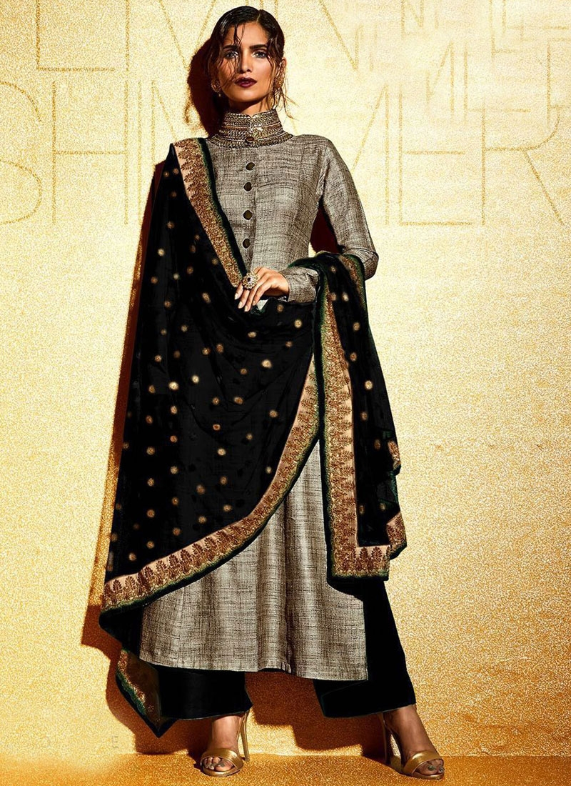 Extraordinary Black Color Khadi And Net Palazzo Style Designer Suit