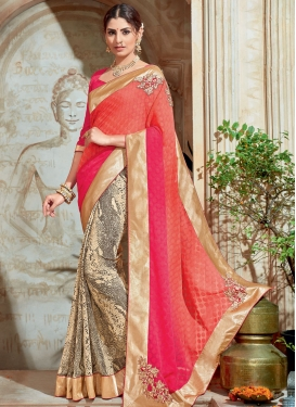 Extraordinary Brasso Georgette Embroidered Work Half N Half Saree