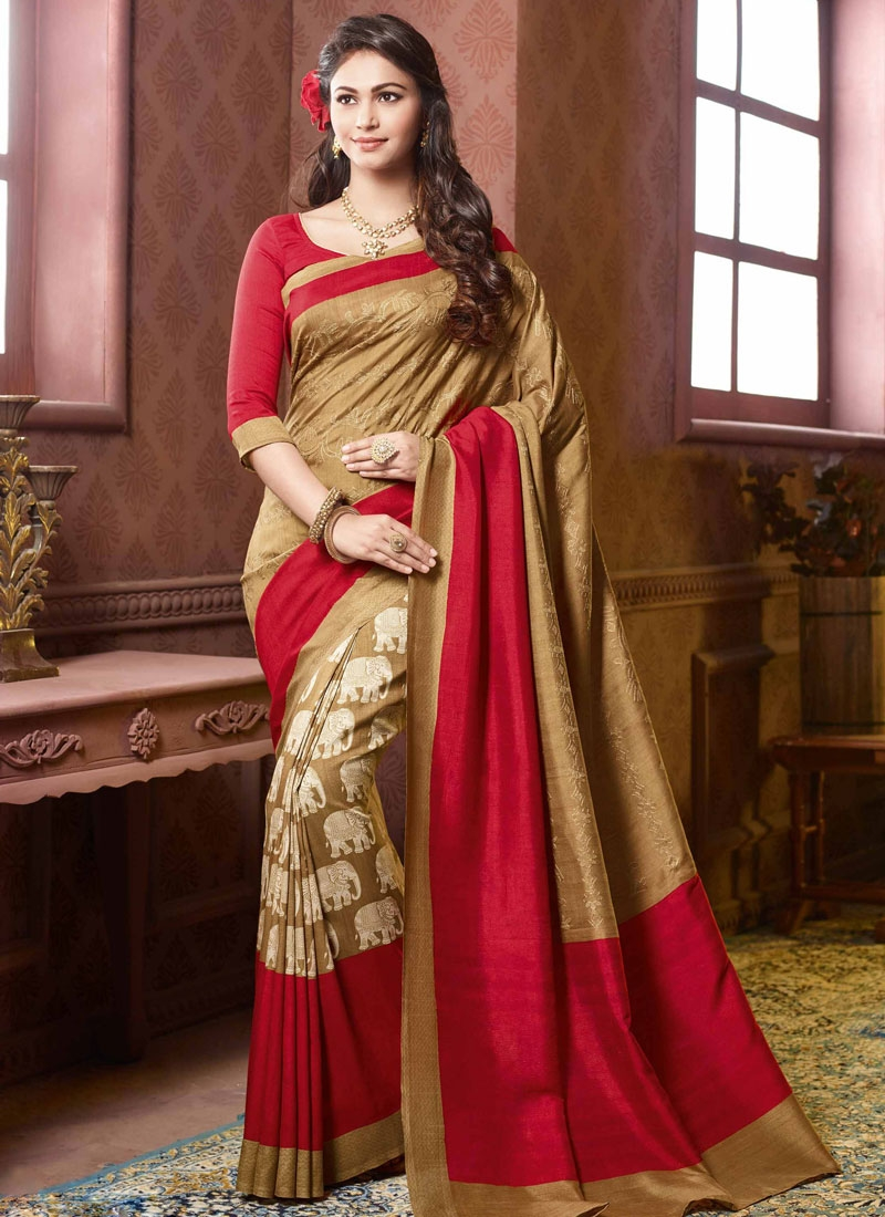 Extraordinary Brown And Red Color Party Wear Saree