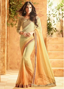 Extraordinary  Cream and Gold Classic Saree For Ceremonial