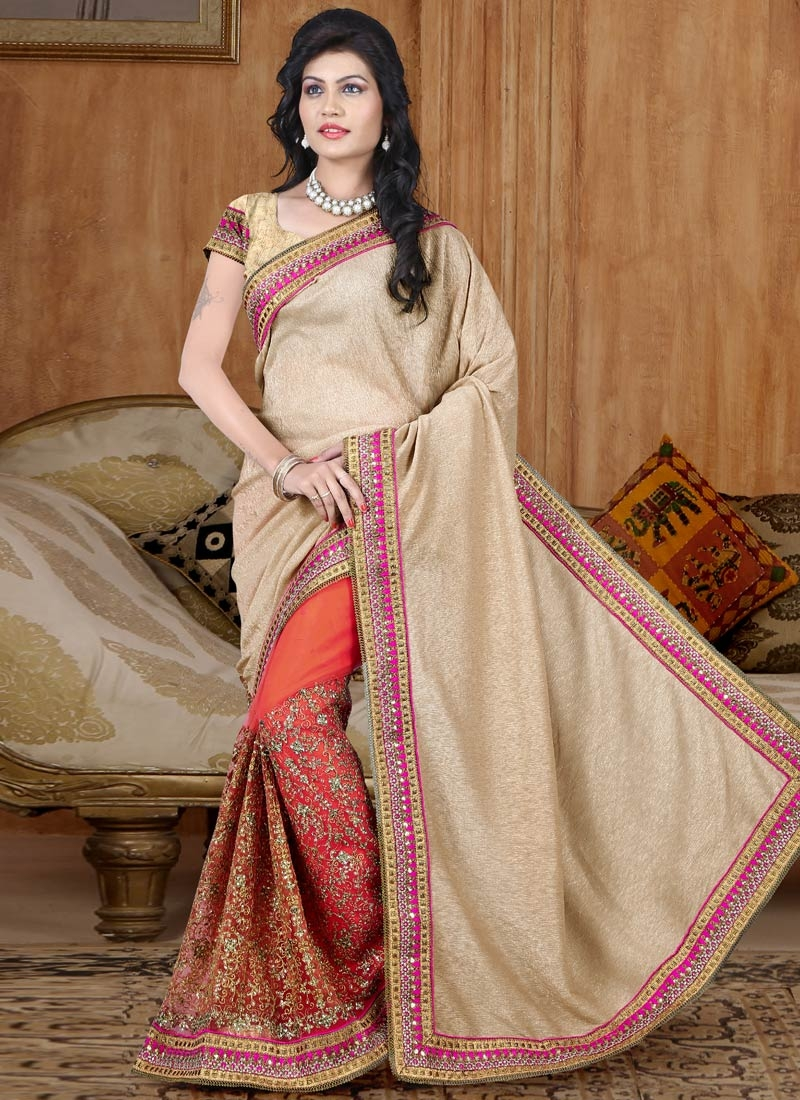 Extraordinary Crush And Net Half N Half Wedding Saree