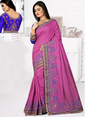 Extraordinary Embroidery And Lace Work Designer Saree