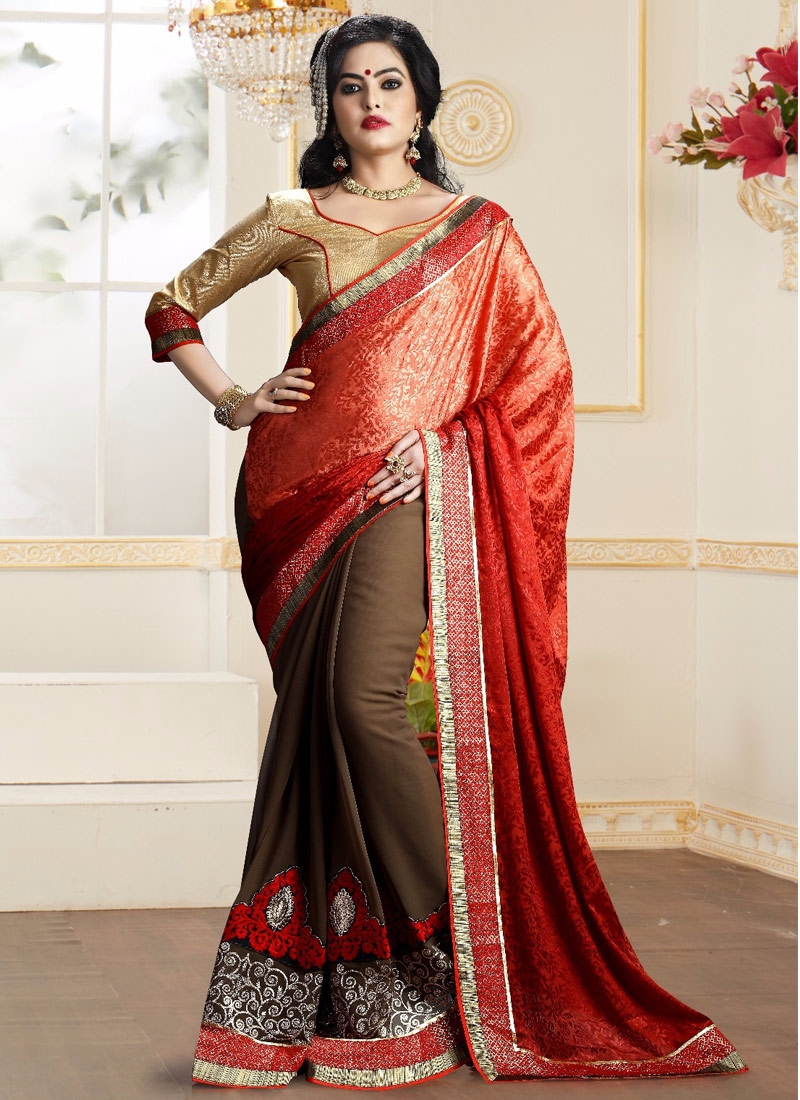 Extraordinary Embroidery Work Half N Half Party Wear Saree
