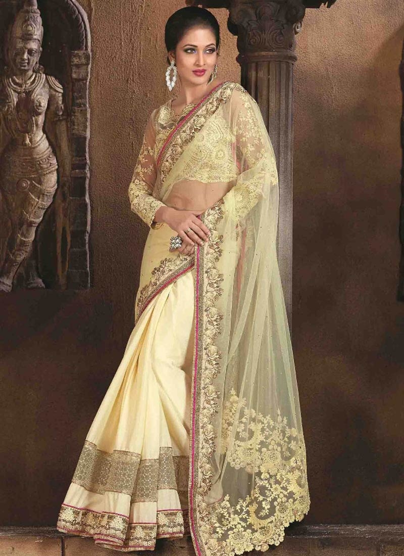 Extraordinary Embroidery Work Net Designer Saree