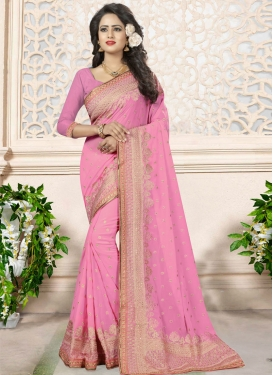 Extraordinary Faux Georgette Embroidered Work Trendy Classic Saree