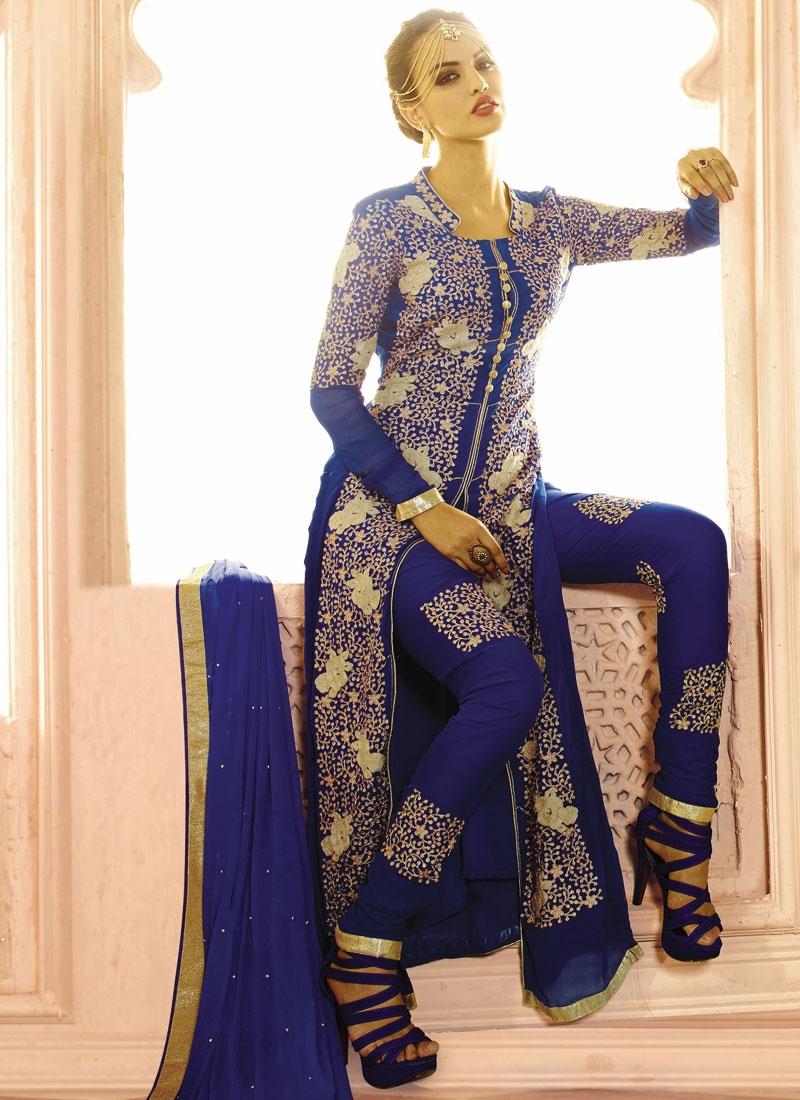 Extraordinary Faux Georgette Pant Style Designer Salwar Suit