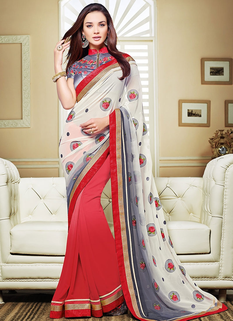Extraordinary Floral And Lace Work Amy Jackson Half N Half Party Wear Saree