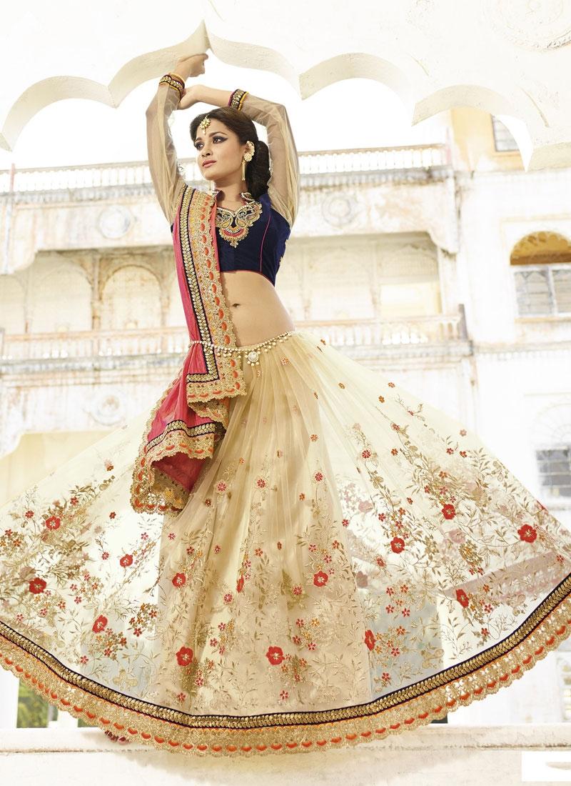 Extraordinary Lace Work Crush Half N Half Wedding Saree