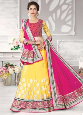 Extraordinary Lace Work Net A - Line Lehenga