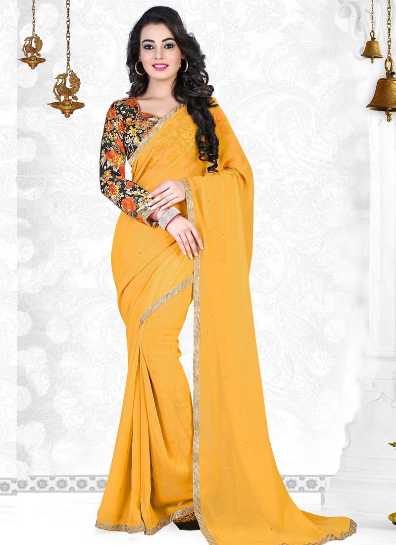 Extraordinary Mustard Color Stone Work Casual Saree
