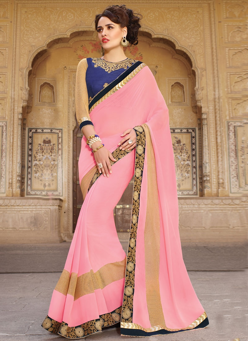 Extraordinary Pink Color Faux Georgette Party Wear Saree
