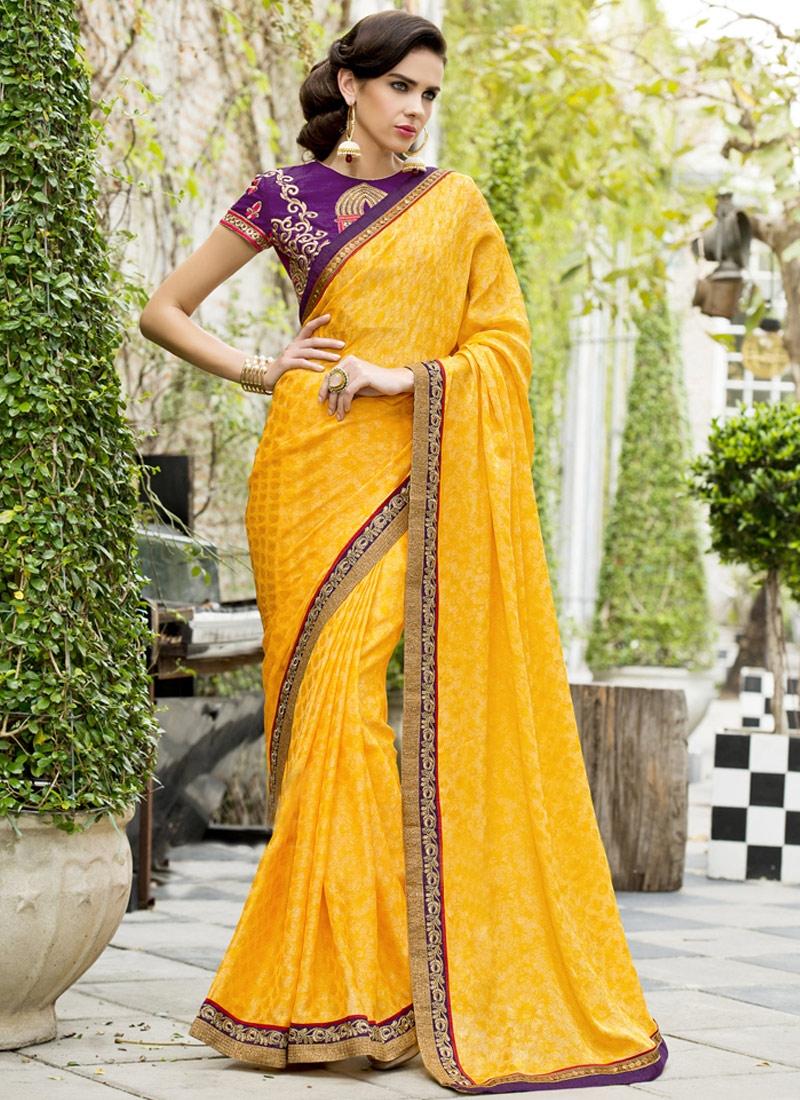 Extraordinary Resham Work Chiffon Satin Party Wear Saree