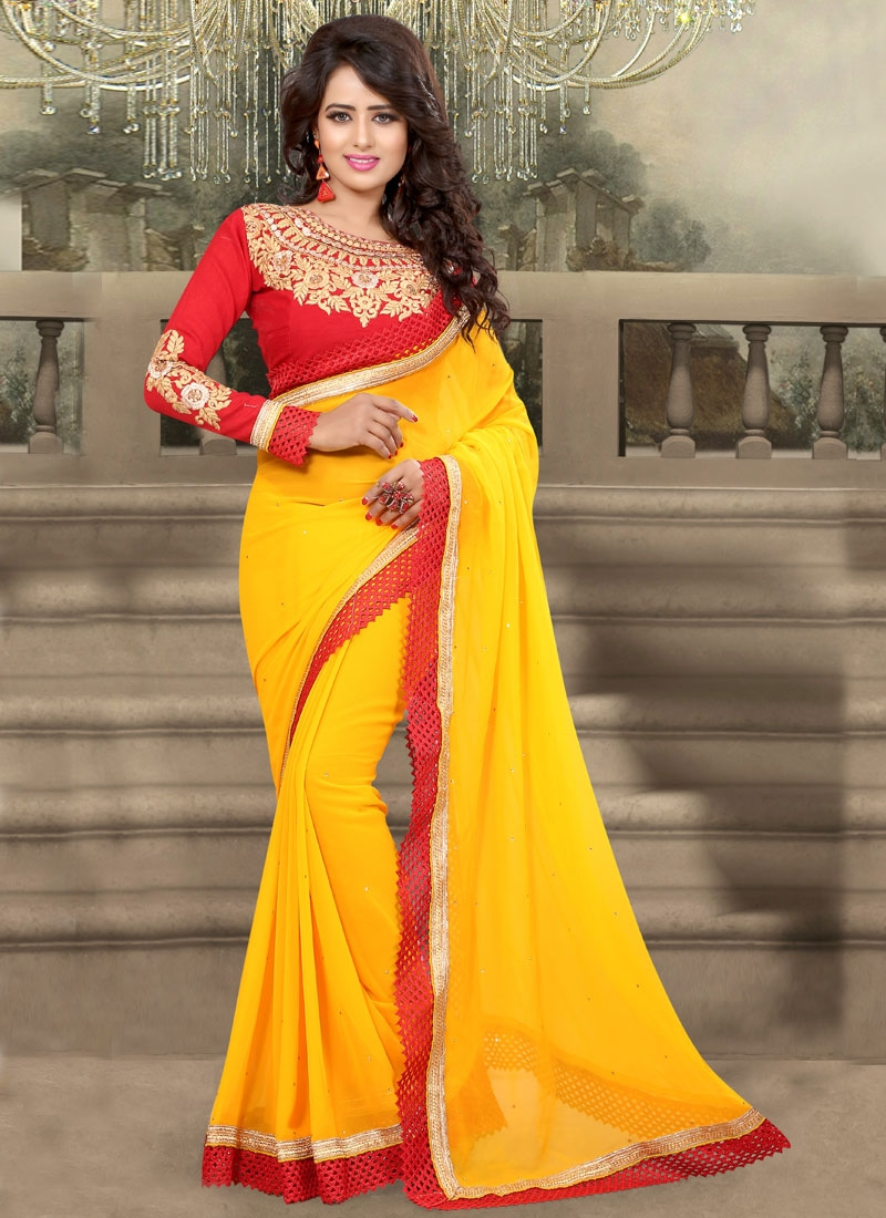 Extraordinary Resham Work Yellow Color Party Wear Saree