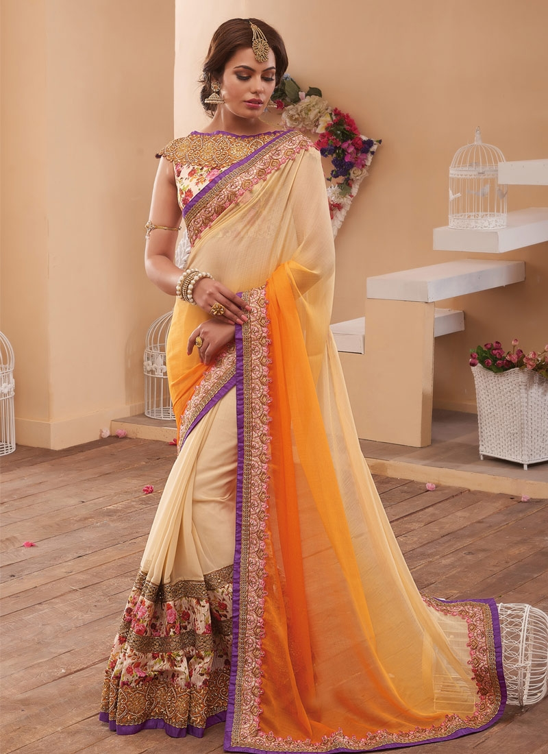 Extraordinary Stone And Zari Work Half N Half Wedding Saree