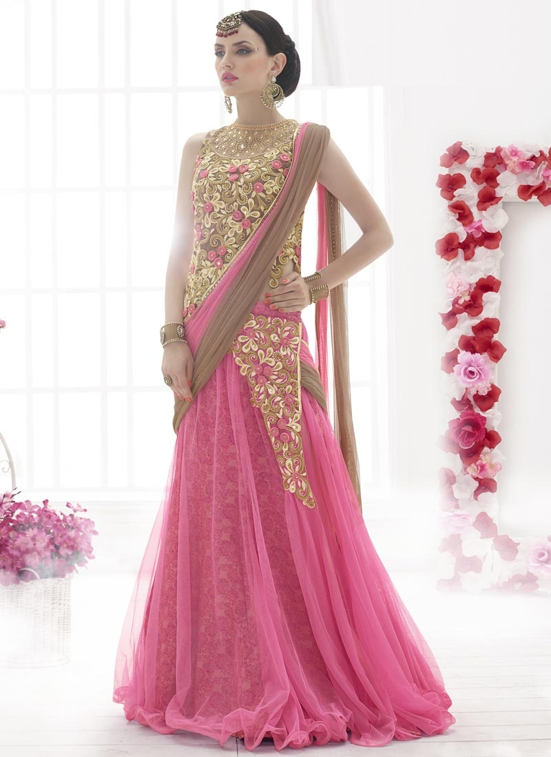 Extraordinary Stone Work Hot Pink Color Designer Lehenga Saree